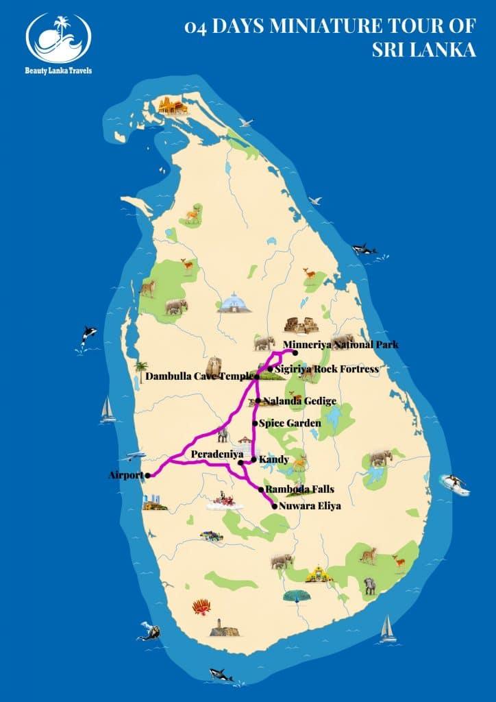 04 DAYS MINIATURE TOUR OF SRI LANKA map