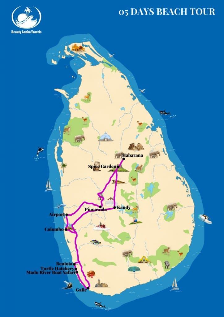 05 DAYS BEACH TOUR map