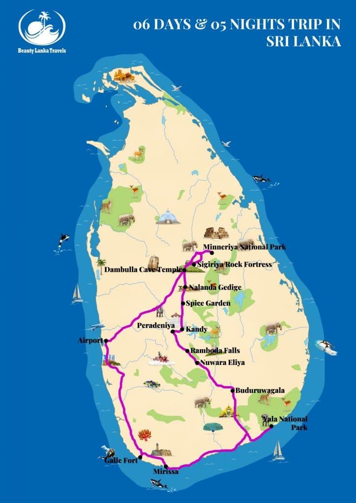 06 DAYS & 05 NIGHTS TRIP IN SRI LANKA map