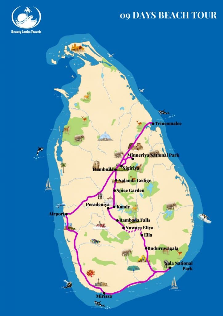 09 DAYS BEACH TOUR map