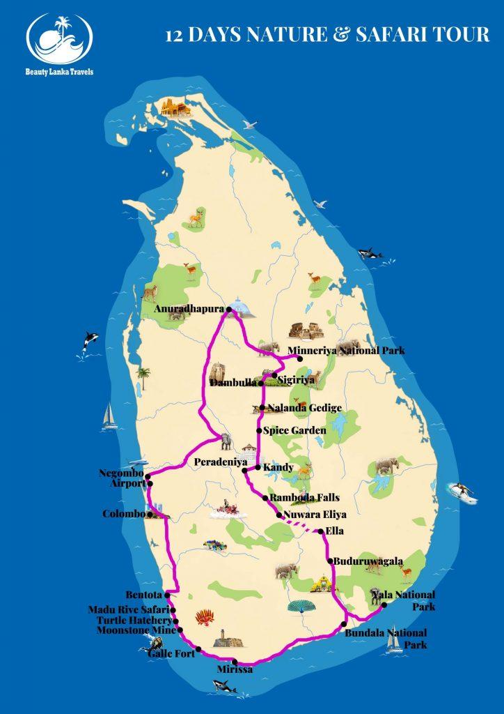 12 DAYS NATURE AND SAFARI TOUR map